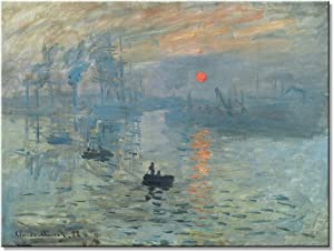 Wieco Art Impression Sunrise Modern Stretched and Framed Giclee Canvas Prints of Claude Monet Famous Oil Paintings Reproduction Seascape Artwork Pictures on Canvas Wall Art for Home Decorations L