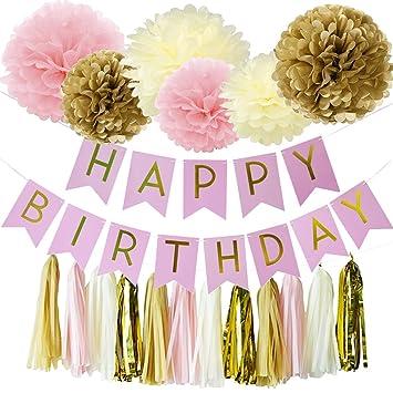 Amazon Wcaro Peach Happy Birthday Decorations Banner Hanging