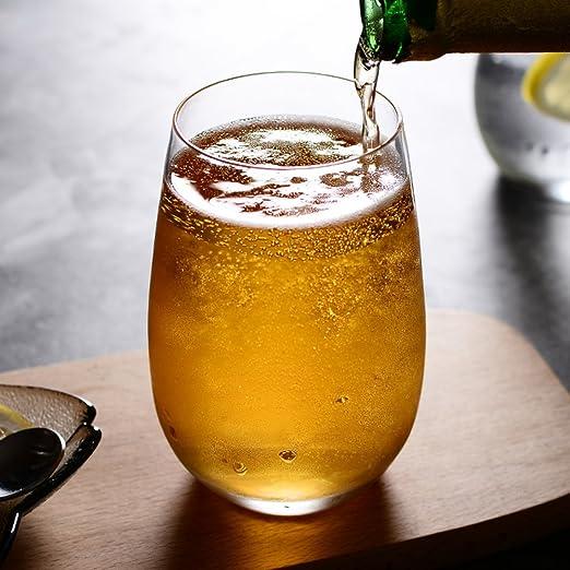 Tazas de vidrio mousse de helado tazas de leche taza de bebidas transparentes de vidrio zumo de cerveza wiskey tubo -Claro 400ml: Amazon.es: Hogar