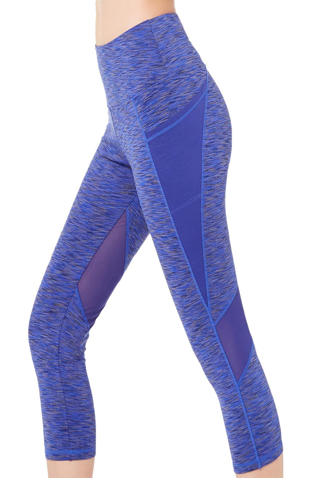 Picotee Women's Long Yoga Pants High Waist Workout Capri Leggings Running Active Tights w Side Pocket (Capri Leggings-Blue Mesh, L)