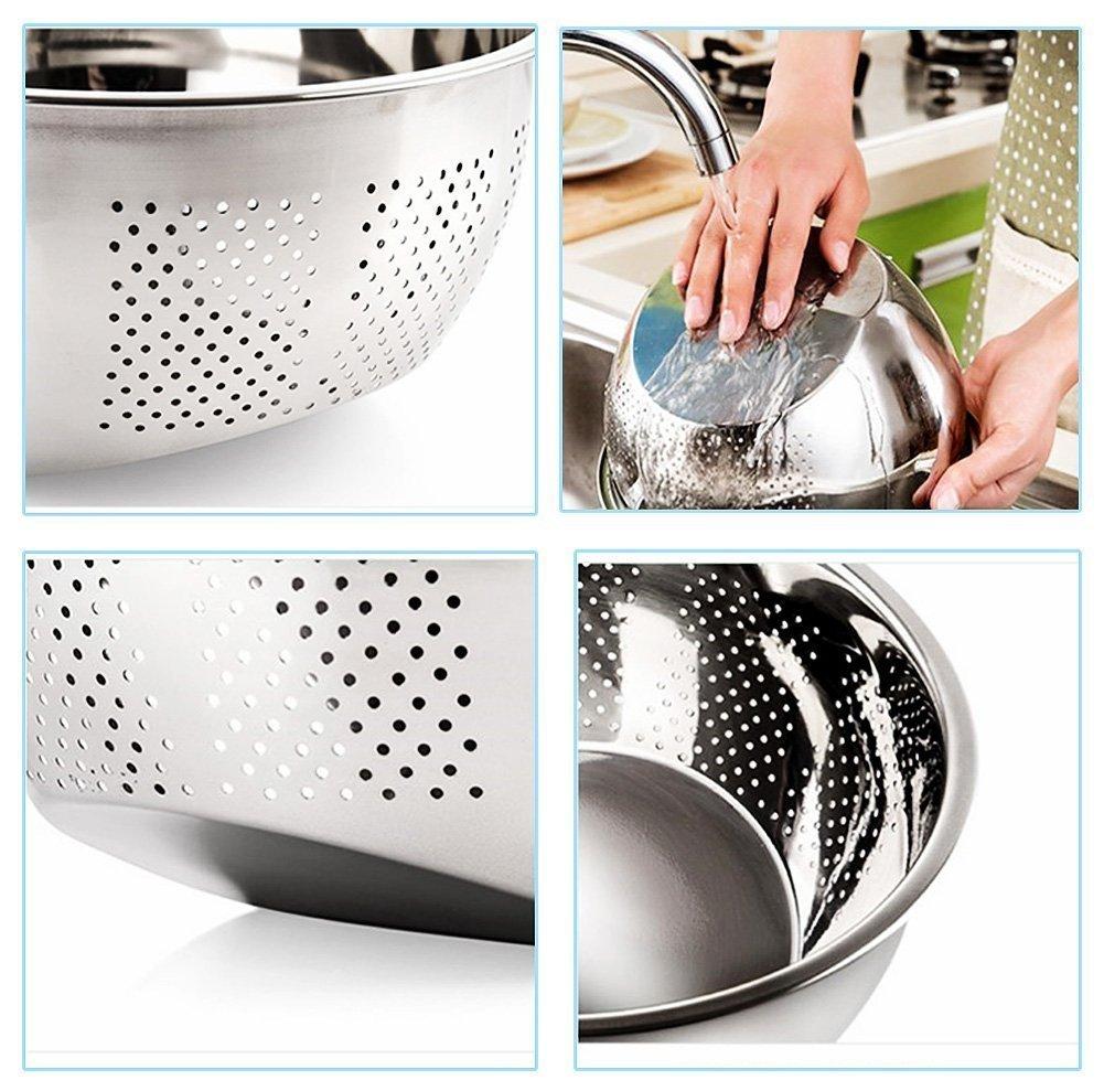 Compra Cuenco para lavar arroz, colador de acero inoxidable y colador de cocina con escurridores laterales para arroz, verduras y frutas, 3 en 1, ...