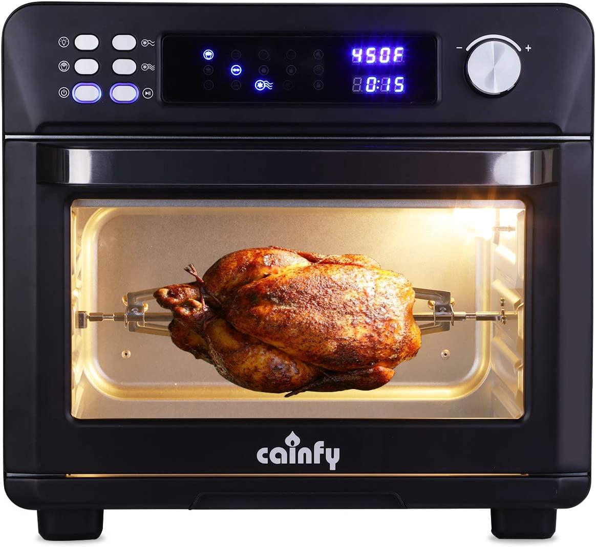 Cainfy Rotisserie Convection Toaster Oven Air Fryer Countertop Roaster Oven 25.5 Quart Toaster Oven with Timer, Temperature Control, LED Digital Display, 6 Accessories, 1700W
