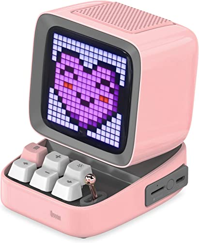 Divoom Ditoo Retro Pixel Art Game Bluetooth Speaker with 16X16 LED App Controlled Front Screen Pink