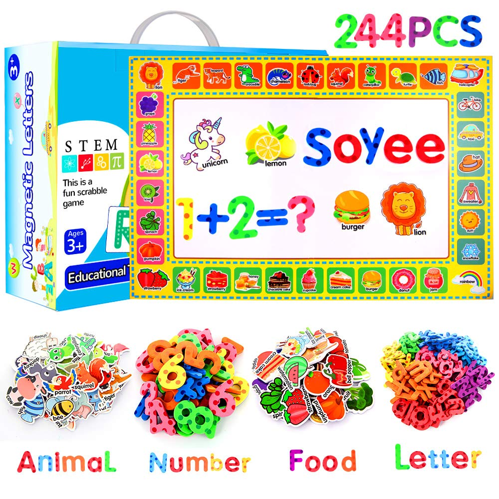 Soyee 244pcs Magnetic Letters Educational Toys for Preschool Learning Alphabet Numbers Objects Spelling Games with Magnetic Board ABC Foam Fridge Magnets Toys for Boys and Girls