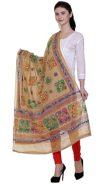 White many Women's Kutch Work Cotton Dupatta Chakachak
