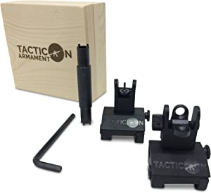 Tacticon Armament Flip Up Iron Sights for Rifle Includes Front Sight Adjustment Tool   Rapid Transition Backup Front and Rear Iron Sight BUIS Set Picatinny Rail and Weaver Rail