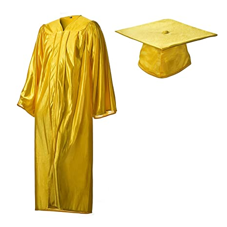 Amazon.com: Graduation Cap and Gown Set Shiny Gold in Multiple Sizes ...