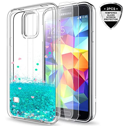 reputable site 9dc83 10a06 LeYi Galaxy S5 Case with Tempered Glass Screen Protector [2 Pack] for Girls  Women, Bling Shiny Glitter Moving Quicksand Liquid Clear TPU Protective ...