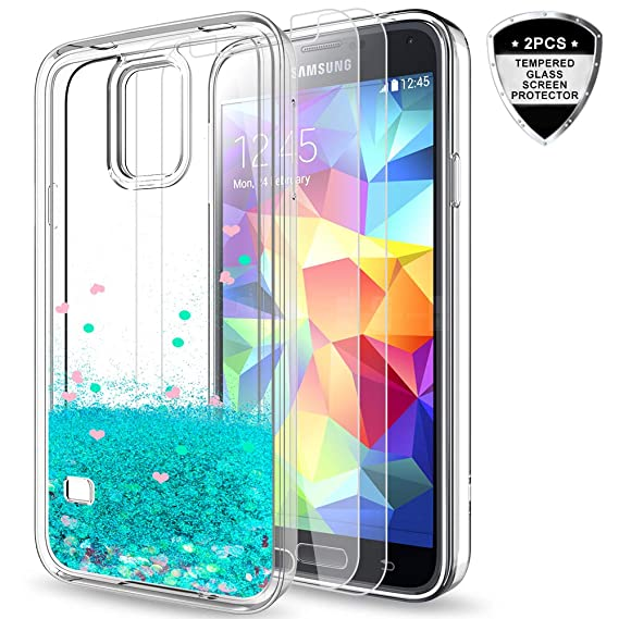 reputable site 361b9 582f4 LeYi Galaxy S5 Case with Tempered Glass Screen Protector [2 Pack] for Girls  Women, Bling Shiny Glitter Moving Quicksand Liquid Clear TPU Protective ...