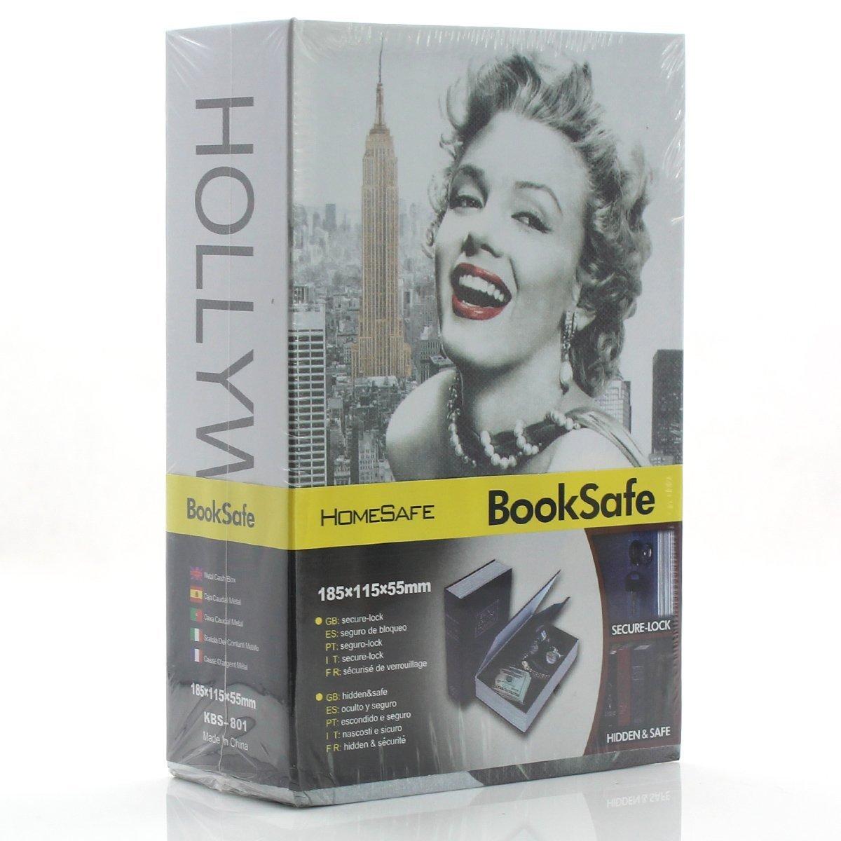 Diversion Book Safes, Kework M Size Book Safe, Diversion Hidden Book Safe With Inside Strong Metal Case and Key Lock, 180 x 115 x 55 mm (Marilyn Monroe)