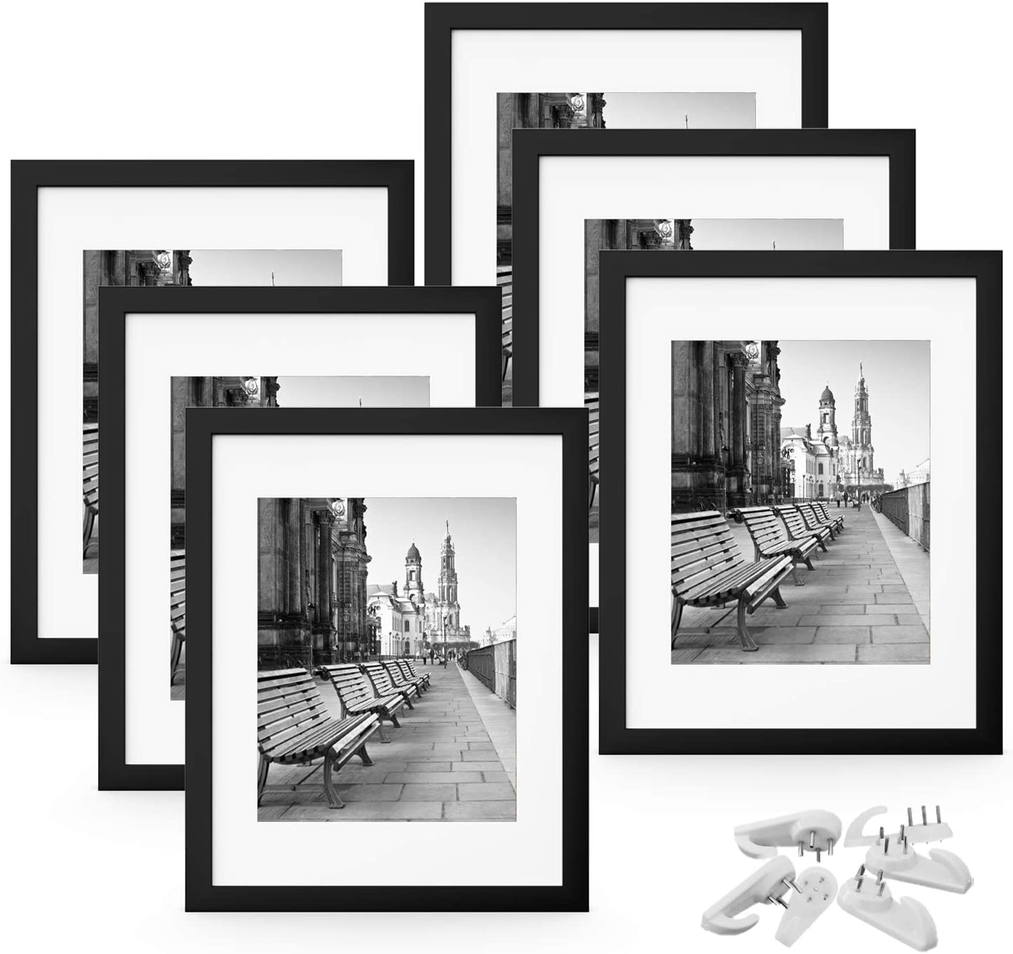 FEGO 8x10 Picture Frame Set of 6, Wall Gallary Photo Frame, Display Pictures 5x7 with Mat or 8x10 Without Mat, Hanging Hardware Included, Black