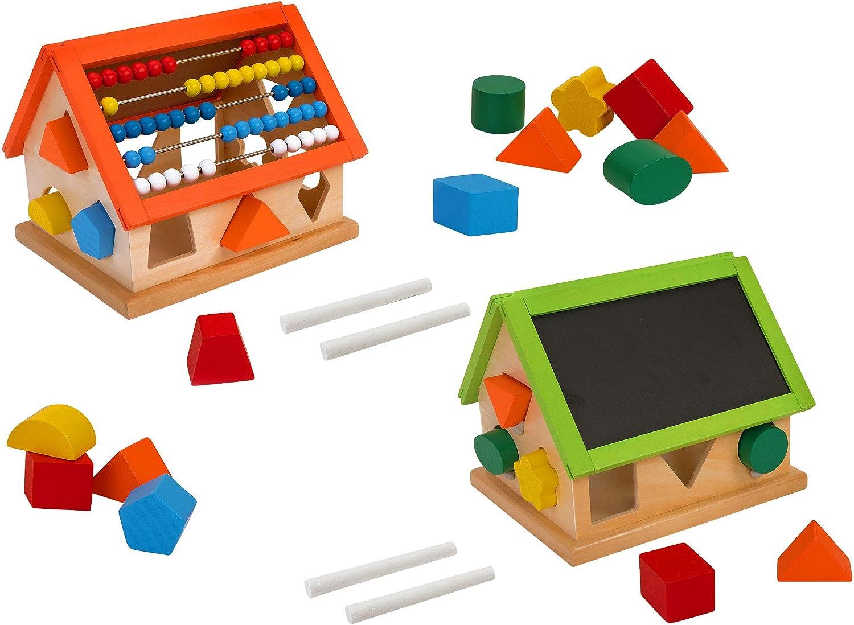 Legnoland 37878 Wooden Activity House Interlocking Pieces//Abacus//Blackboard 2col