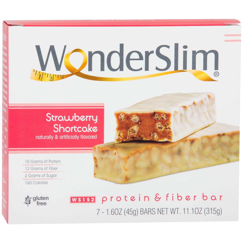 WonderSlim Low-Carb 15g Protein Diet Bar - Strawberry Shortcake - High Fiber Weight Loss Snack Bar - Gluten Free (7 Count) by WonderSlim