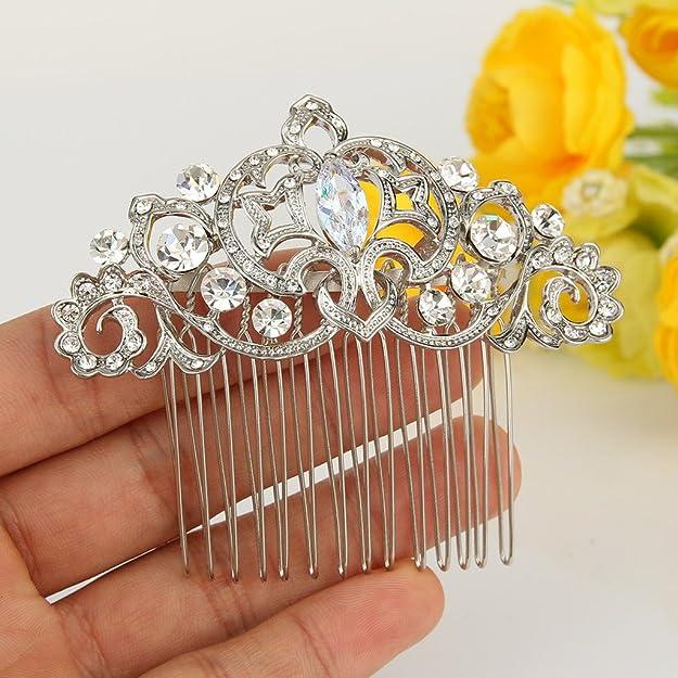 Ever Faith Silver-Tone Cubic Zirconia Crystal Wedding Fleur-de-lis Flower Vine Hair Comb Clear N05408-1