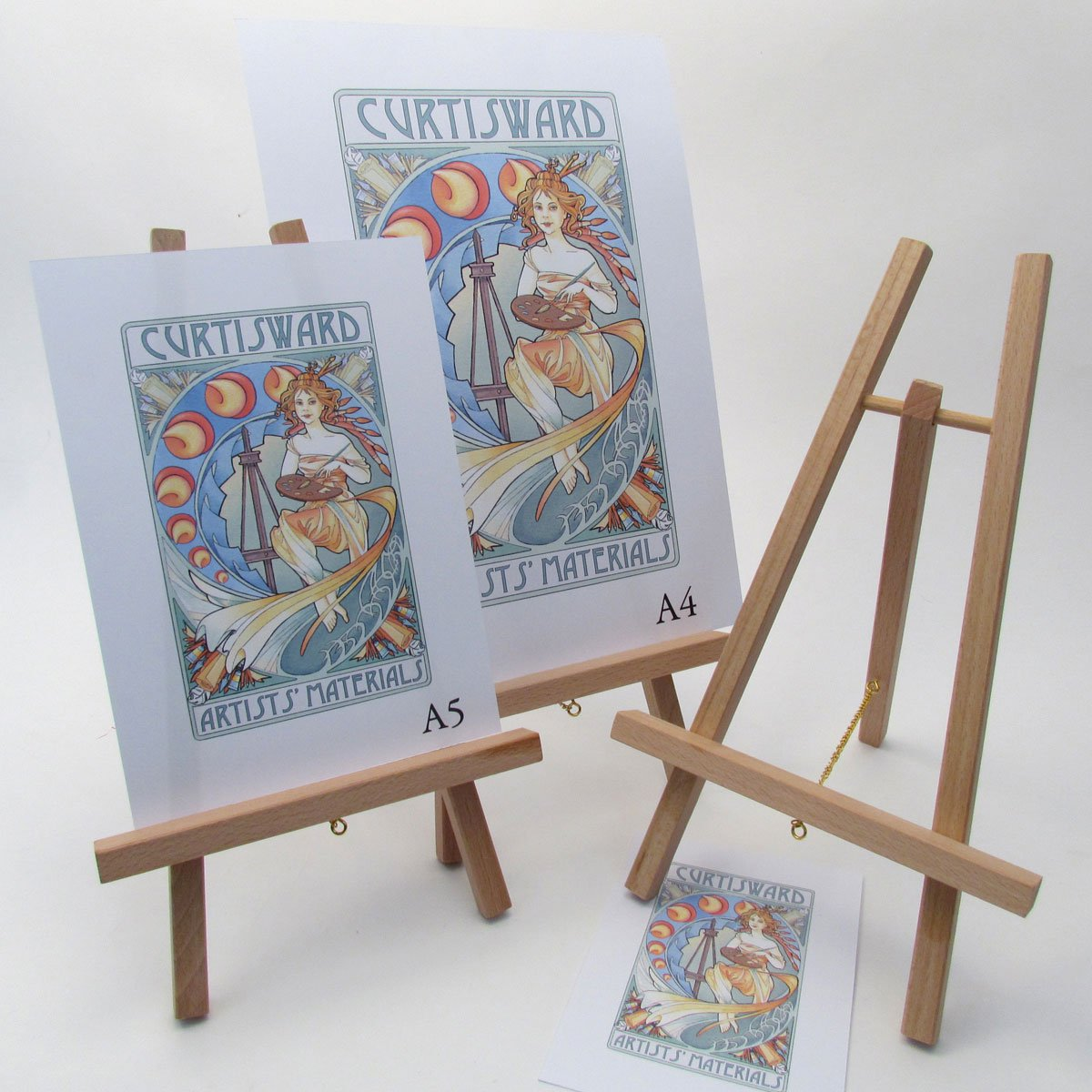 Curtisward 3 Pack of Small Wooden Table Easels. Display Frames, Menu, Art Easel. 28cm High