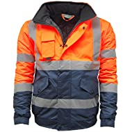KAPTON... Mens Waterproof Hi Visibility Two Tone Safety Quilted Bomber Jacket Standard Safety Work Wear Jackets