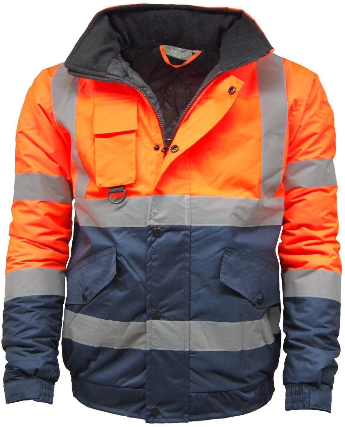 KAPTON. Mens Waterproof Hi Visibility Two Tone Safety Quilted Bomber Jacket Standard Safety Work Wear Jackets Orange/Navy XXXXX-Large