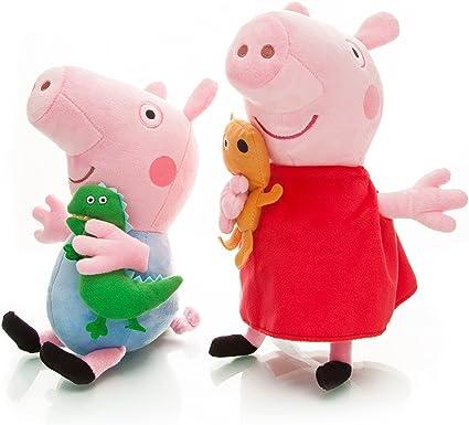 Peluches de Peppa Pig x2 Grandes Originales 19cm Peppa y George Papa y Mama niño