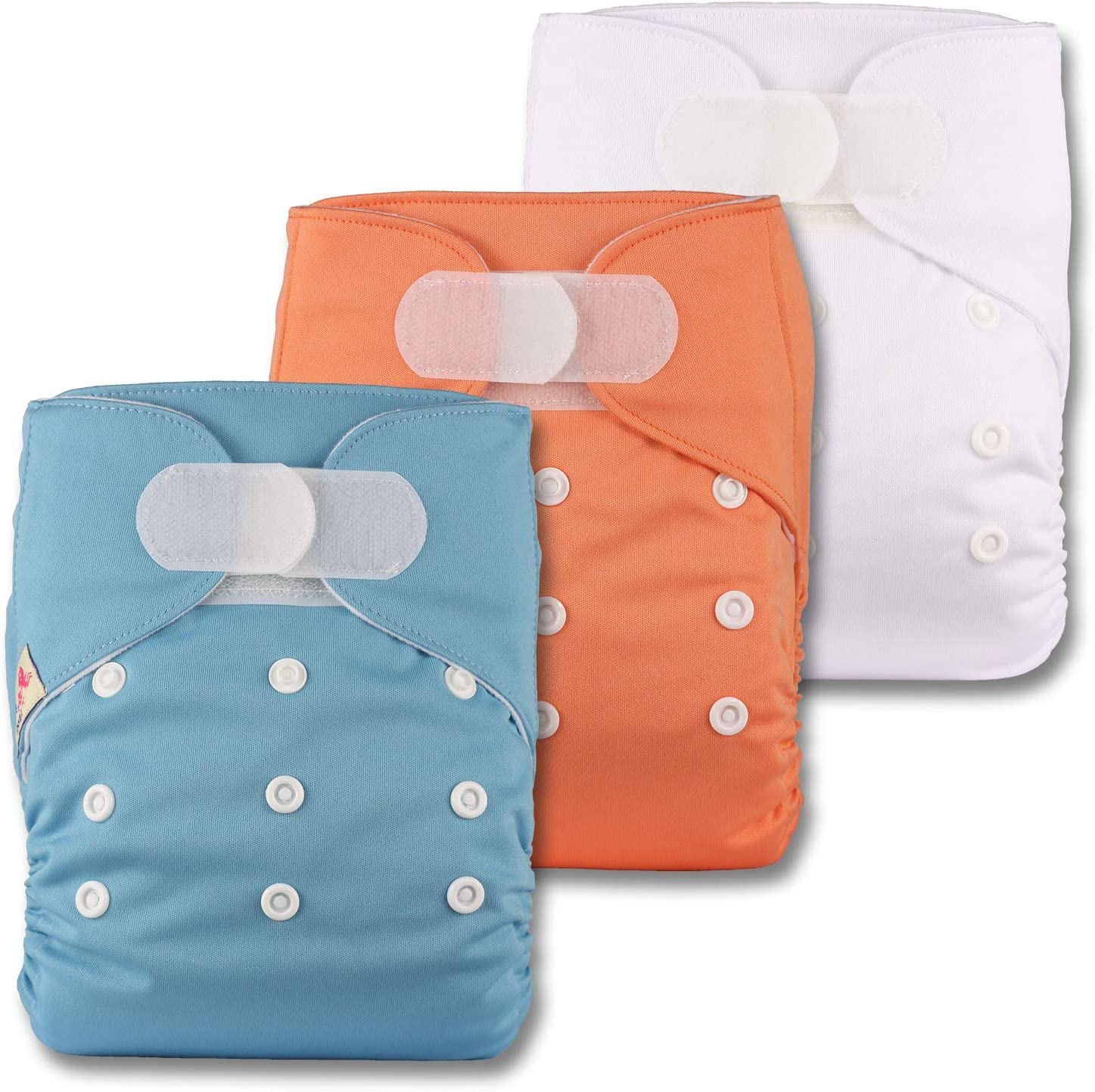 with 3 Bamboo Inserts Patterns 325 Set of 3 Reusable Pocket Cloth Nappy Fastener: Hook-Loop Littles /& Bloomz