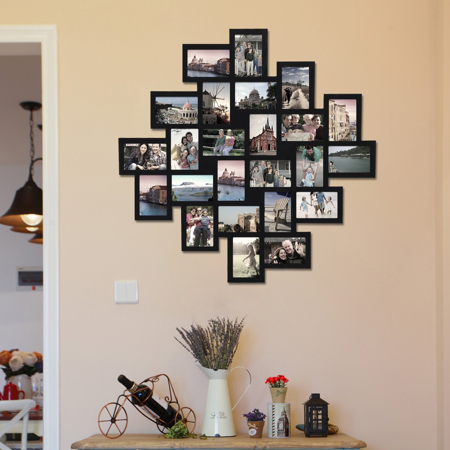 Adeco PF0552 24-Opening Black Wood Wall Hanging Collage Clustered Photo Frame, 4 by 6''