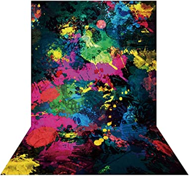 Allenjoy 7x5ft Glow Neon Abstract Graffiti Paint Splatter Backdrop Glow Party 80S 90S Themed Birthday Party Banner Decoration Graffiti Painting Photography Background Photo Booth Props Supplies