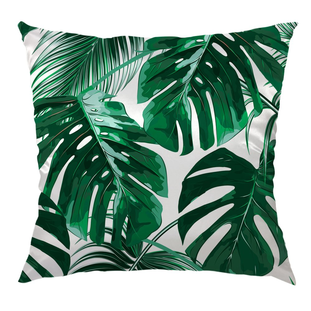 Buy Hgod Designs Tropical Leaf Throw Pillow Case Beautiful Tropical Palm Tree Leaves Design Satin Cushion Cover Square Standard Home Sofa Decorative For Men Women 18x18 Inch Green Online At Low Prices In India