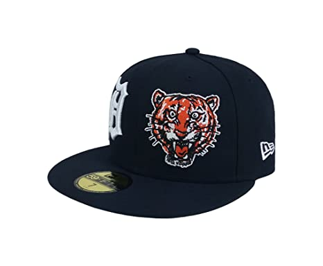 newest 99c7c 71738 New Era 59Fifty Hat MLB Detroit Tigers Heritage Patch d Up Fitted Navy Blue  Cap