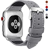 Fullmosa 7 Colors For Apple Watch Bands, Jan Calf Leather Strap Replacement Band/Strap With Stainless Steel Clasp For Iwatch Series 1 2 3 Sport And Edition Versions 2015 2016 2017, Grey, 38Mm