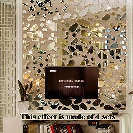 Wonderful TTSAM 18PCS Mirror Wall Stickers Decor   Cobblestone Shape DIY Decals Cute  Plastic Geometric DIY Removable