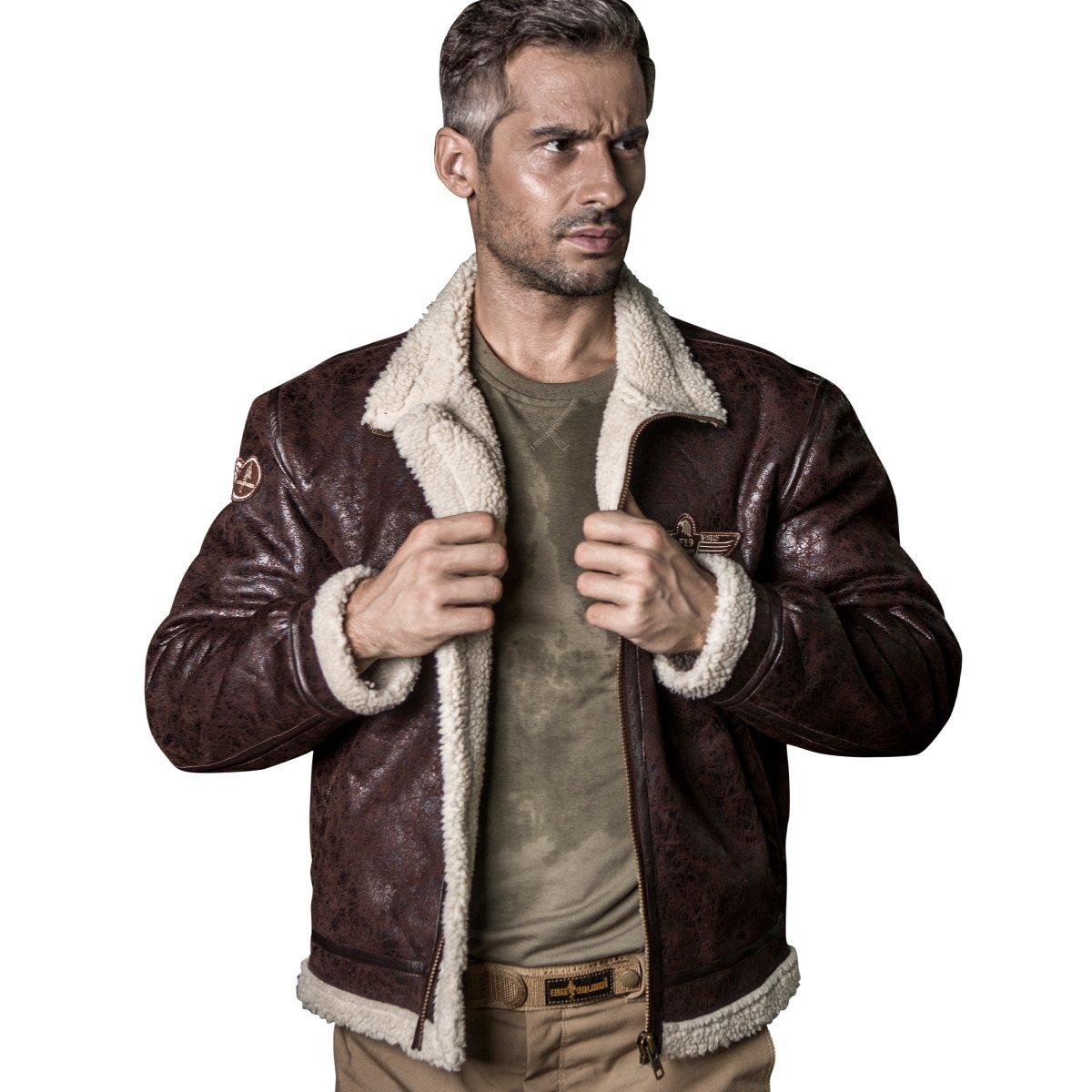 FREE SOLDIER Men Classic Bomber Jacket Autumn Winter Heat-conserving Leather Fur Tactical Pilot Jacket (Brown, XXX-Large)