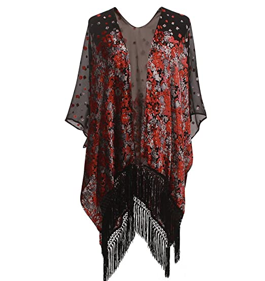 1920s Style Shawls, Wraps, Scarves Floral Burnout Velvet Dress Kimono Cardigan With Fringe Velvet Shawls Wraps ( floral  13) $33.99 AT vintagedancer.com