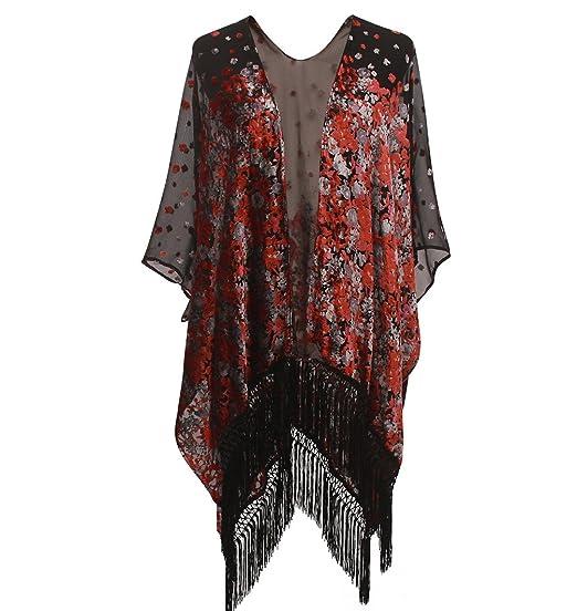 Shawls & Wraps | Vintage Lace & Fur Evening Scarves Floral Burnout Velvet Dress Kimono Cardigan With Fringe Velvet Shawls Wraps ( floral  13) $33.99 AT vintagedancer.com