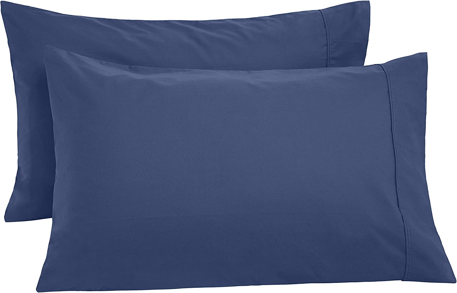 AmazonBasics Ultra-Soft Cotton Pillowcases, Breathable, Easy to Wash, Set of 2, Midnight Blue, King