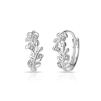 d200ffaf5 Silver Leaf Hoop Earrings with Crystals from Swarovski: Amazon.co.uk:  Jewellery
