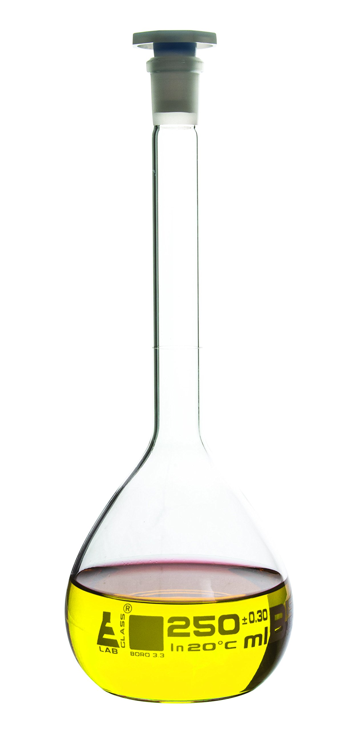 Volumetric Flask, 250ml - Class B - 14/23 Polypropylene Stopper, Borosilicate Glass - Blue Graduation, Tolerance ±0.300 - Eisco Labs by EISCO