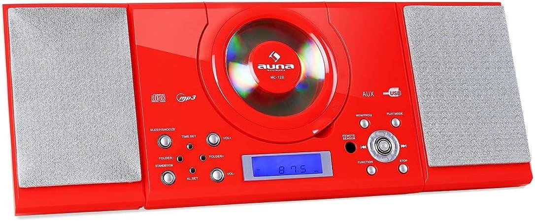 auna MC-120 - Cadena estéreo, Equipo Compacto, minicadena, Reproductor de CD con MP3, FM, USB, AUX, Despertador, Pantalla LCD, Mando a Distancia, Altavoces, Montaje en Pared, Rojo