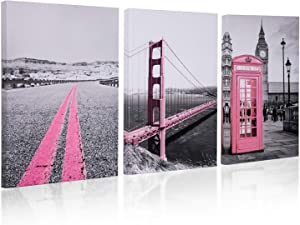 Golden Gate Bridge for Decor Girls Pink Theme Room - Big Ben in London Murals Hanging Paintings Decorative Art Wall Home Decoration Painting 12x16Inch x 3Panel