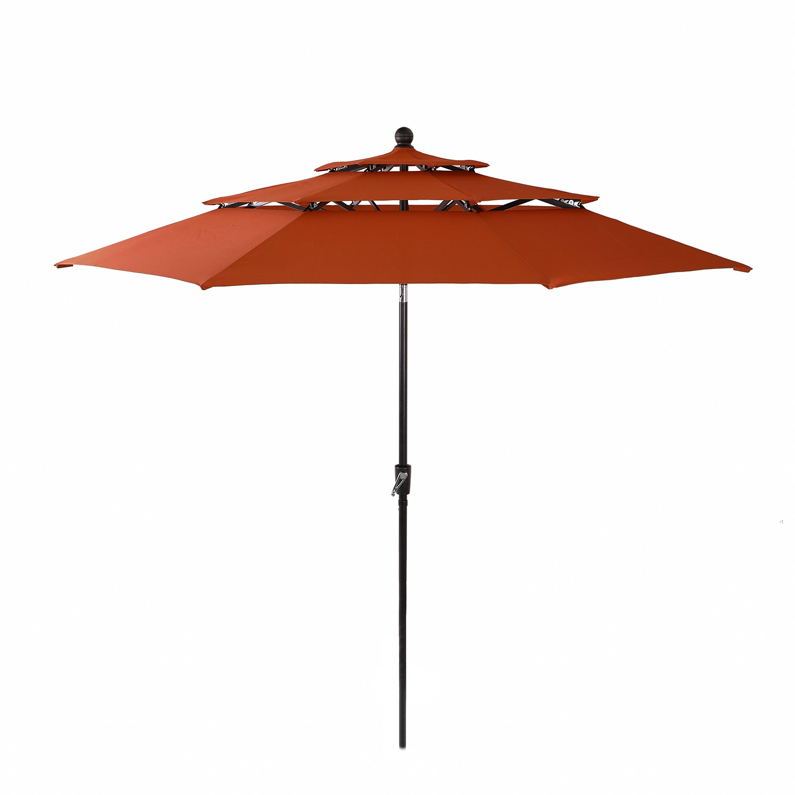 PHI VILLA 10ft 3 Tier Auto-tilt Patio Umbrella Outdoor Double Vented Umbrella, Orange Red