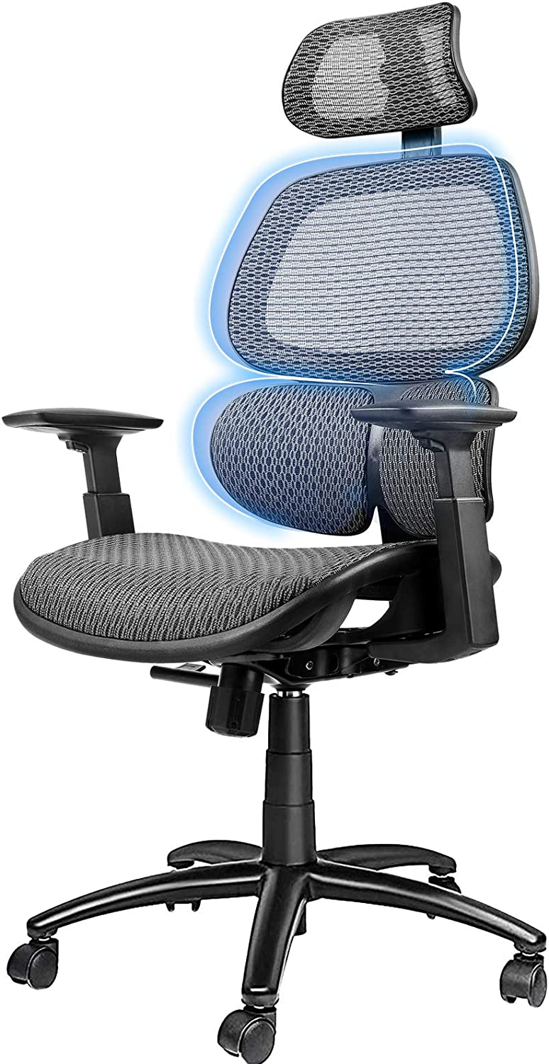ComHoma Ergonomic Office Chair Breathable Mesh Desk Chair High Back Computer Chair with 3D Lumbar Support and Adjustable Headrest Flexible Armrests, 300 lbs Gray