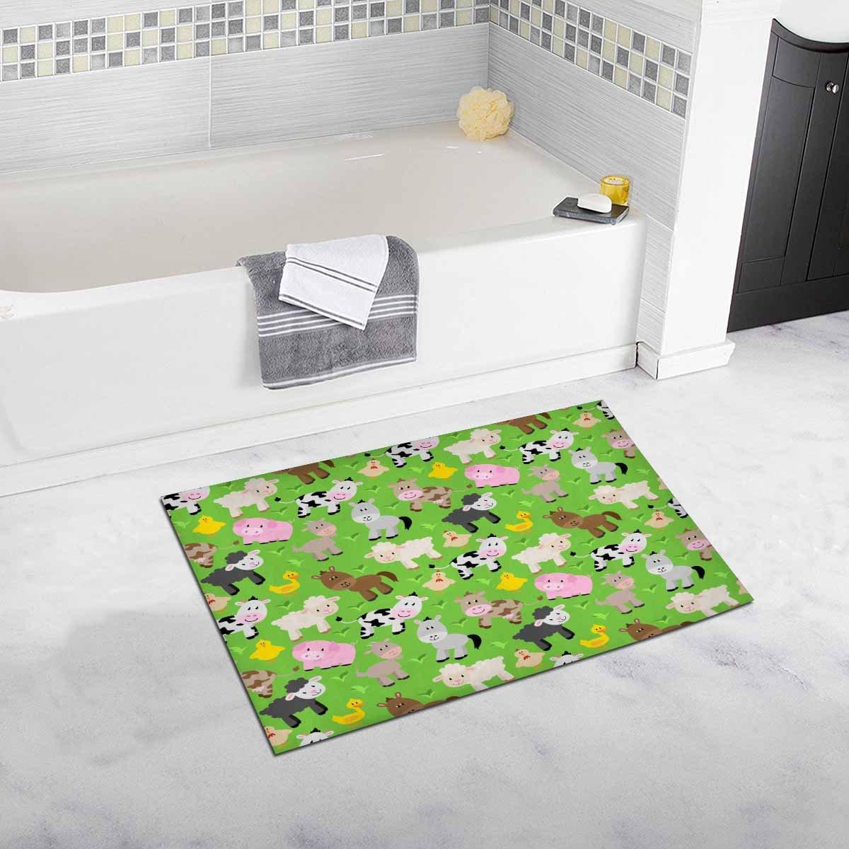 InterestPrint Tileable Farm Animal and Barnyard Bath Mat Soft Bathroom Rugs Non-slip Rubber0 20 W X 32 L Inches
