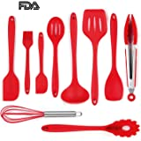 KALRI Silicone Spatula Utensil Set Heat-Resistant Non-Stick Cooking Baking Utensils with Hygienic Solid Coating Spatula Set 10 Pieces
