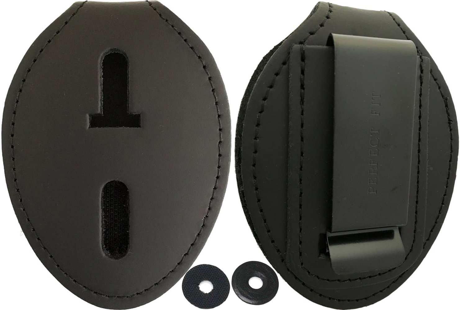 Oval Police Badge Holder Belt Clip - Optional To Use Around The Neck - Black Leather by Agent Gear USA