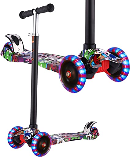 Hikole Scooter for Kids, Kick Scooter for Toddlers Girls & Boys with LED Light Up Wheels, Adjustable Height Scooter for Children from 3 to 12 Years ...