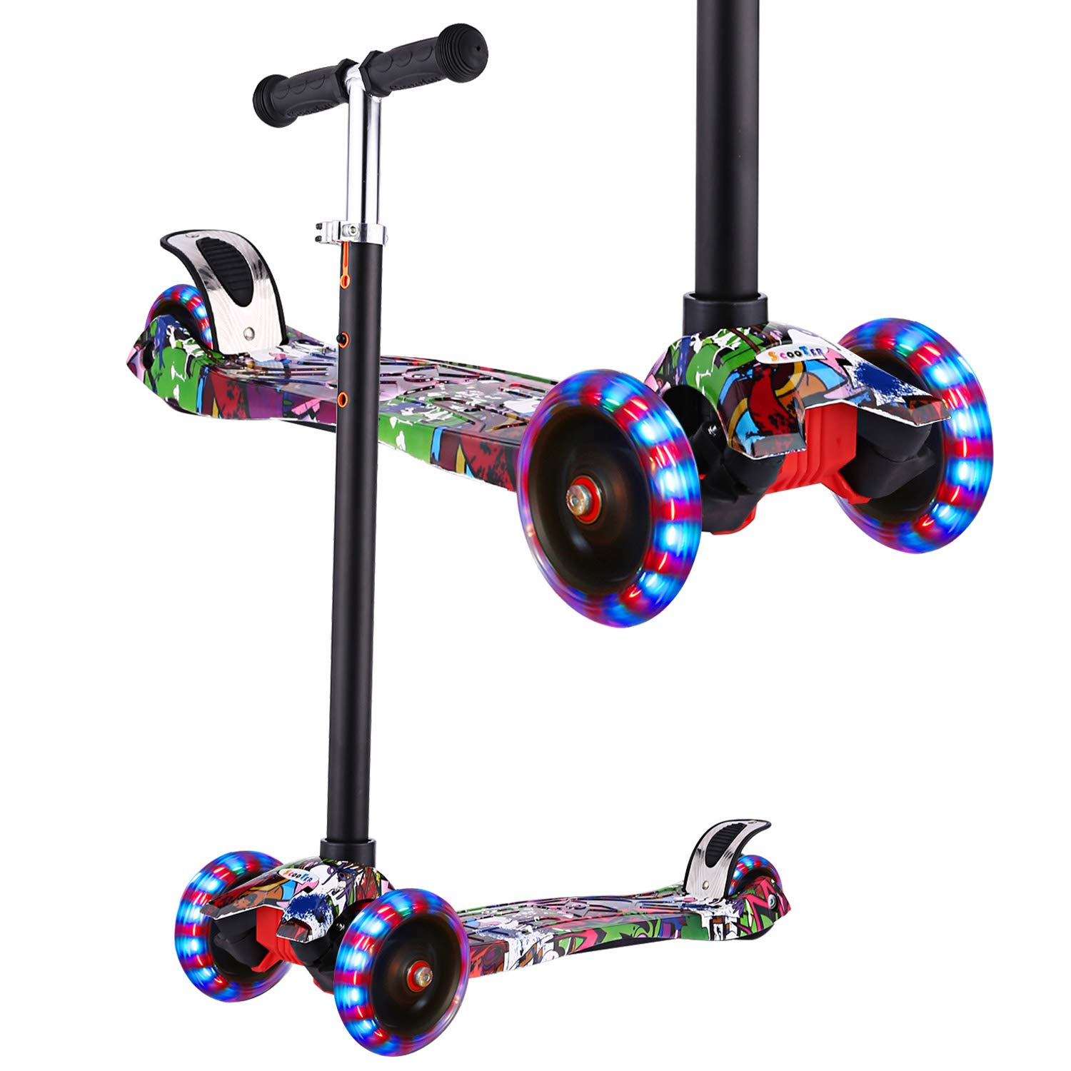 Hikole Kick Scooter for Kids, 3 Wheel Scooter for Toddlers Girls & Boys, 3 Adjustable Height, Lean to Steer with PU LED Light Up Wheels for Children from 3 to 12 Years Old by Hikole