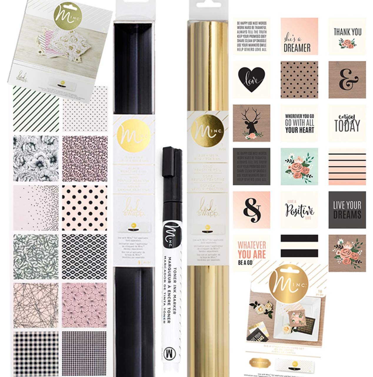 Heidi Swapp Minc Foil Accessories Bundle (5) with Black and Gold foil, Graphic Card Set, Toner Ink Pen, Patterned Paper Set