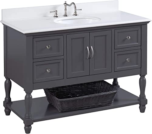 Beverly 48-inch Bathroom Vanity Quartz/Charcoal Gray : Includes Charcoal Gray Cabinet