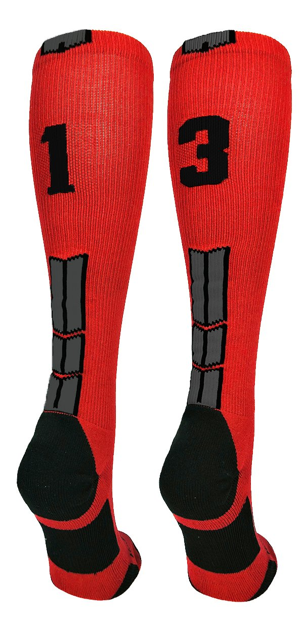 MadSportsStuff Red/Black Player Id Custom Over The Calf Number Socks...