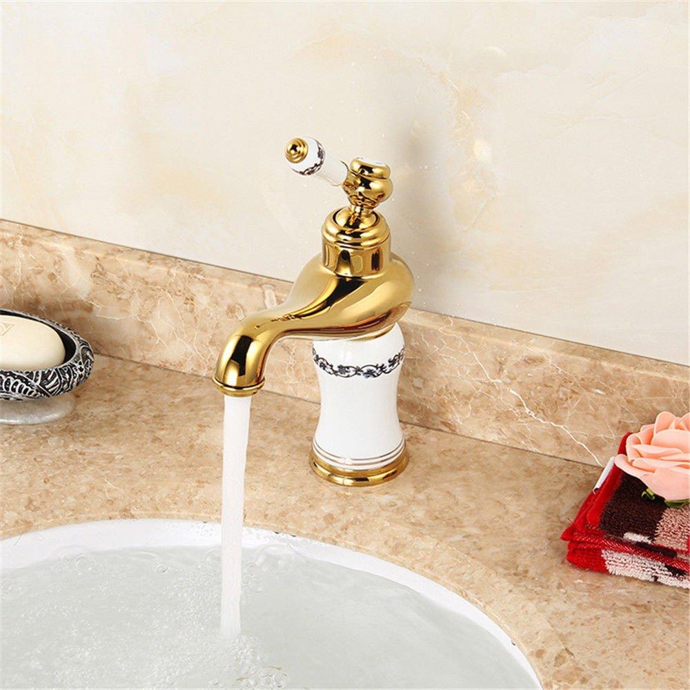 Kommerzielle Waschbecken Armatur Gold Weiß Waschbecken Mischbatterie traditionelle Home Waschbecken Wasserhahn