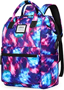 BRINCH Laptop Backpack 15.6 Inch Wide Open Computer Backpack Laptop Bag College Rucksack Water Resistant Business Travel Backpack Casual Daypack with USB Charging Port for Women Men, Starry Sky