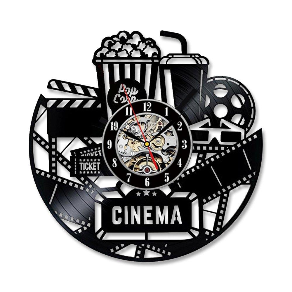 ReaYouth Balck CD Vinyl Record Clock Art Wall Clock, 12'' Cinema Popcorn Movie Film Theme Vinyl Clock Wall Art Silhouette Gift For Movie Lover (A)